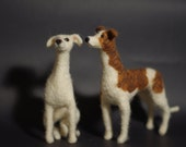 Needle felted pair of whippets. Reserved for Susan