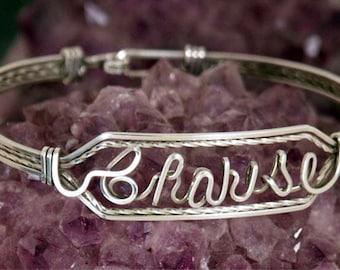 Custom Name Bracelet in Sterling Silver Wire