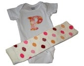 Custom Onesie with Orange and Pink Polka Dot Leggings