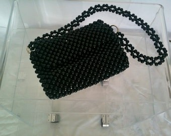 1960s Black Bauble Bead Purse