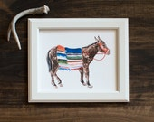 Donkey print- fine art print - animal illustration - Mexcio  - hand painted - flowers