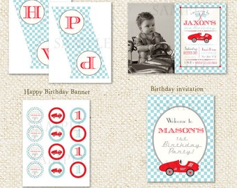 Race Car  - DIY Printable Personalized Birthday Party Package Party Pack