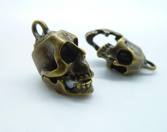 5pcs 11x18x23mm Antique Bronze Thick 3D  Skull Head Charm Pendant C842(Mouth Can Open)
