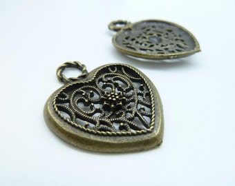 8pcs 27x35mm Antique Bronze Filigree  Heart Charm Pendant c3043