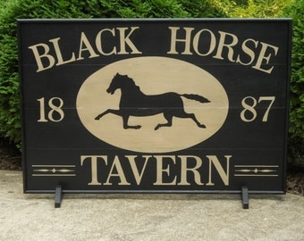 "24"" x 36"", Black, Horse, Tavern, Trade Sign, Folk Art, Wood, Primitive, Hand Pained, Folk Art, Sign, Signs, colonial"