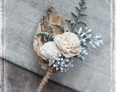 Birch Forest Boutonniere - Rustic Elegant Weddings - Woodland Wedding - Groom Groomsmen - Spring Summer Winter Wonderland Autumn Sola Lapel