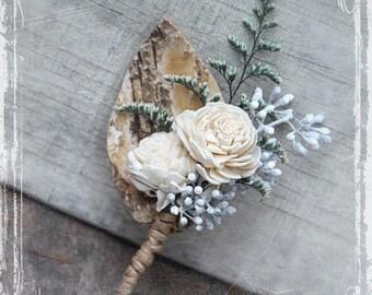 Birch Forest Boutonniere - Rustic Elegant Weddings - Woodland Wedding - Groom Groomsmen - Spring Summer Winter Wonderland Autumn Sola Lapel