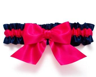 Wedding garter - bridal garter - navy blue and hot pink garter with a hot pink bow - hot pink and blue satin garter - hot pink toss garter