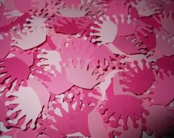 100 Pink Princess Tiara / Crown Confetti Punches