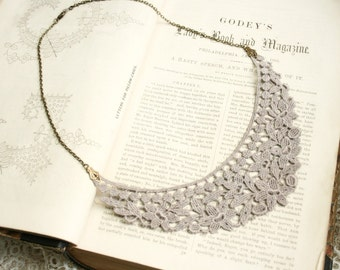 lace necklace -SYLENE- gray grey