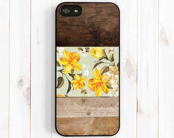 Daffodil Pattern iPhone Case, Personalized Monogram Printed Image Wood Pattern iPhone 7 5 5C iPhone 4S, Samsung Galaxy S3 S4 S5 Note 3 np39