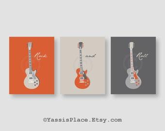 Guitar Art, Kids Wall Art, Baby boy nursery decor, Echo Baby, Sweet Potato, in orange and gray Bedding, set of 3 printsby YassisPlace