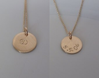 """Date on Back  - 1/2"""" Gold Disc  - Double Sided Gold-filled- Initial - Mother's Gift - Single Initial on front - Birthdate"""
