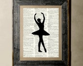 Buy 1 get 1 Free - Ballerina(4) - Printed on a Vintage Dictionary, 8X10, dictionary art, paper art, illustration art, collage