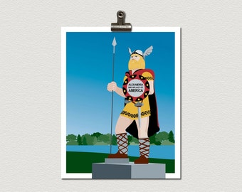 Big Ole Giant Viking Alexandria Minnesota Roadside Attraction Illustration Poster Print
