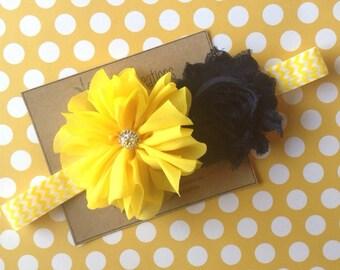Navy & Yellow Headband Ballerina Flower Shabby Flowers Newborn headband Summer