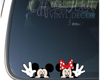 "Mickey and Minnie Mouse Disney ""Hello"" Vinyl Car Decal"
