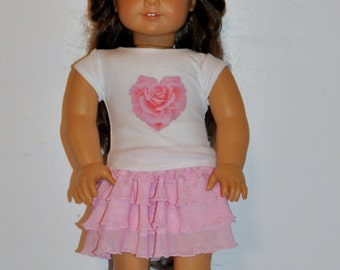 Rose heart skirt and top outfit  that fits AMERICAN GIRL DOLLS