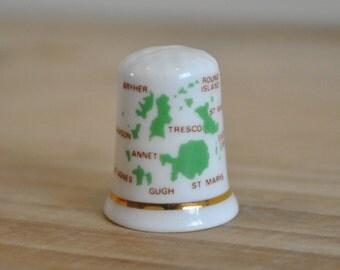 Vintage china thimble - Isles of Scilly - Fenton - England