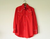 Vintage Levi Strauss Red Long Sleeve Western Shirt, 1980 Olympic Games, Mens Medium