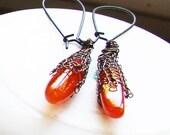 Bohemian Carnelian Gemstone Drop Earrings rustic boho crochet with cooper coated antique bronze wire.  Valentine's day