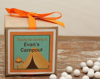 12 - Personalized Camping Party Favor Boxes - Camping Label Design, Camping Birthday Party Favors, Kids Party, Campout Party Favor