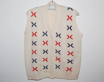 Vintage Wool Boyfriend Sweater Vest Ivory with Red and Blue