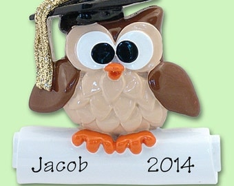 WISE OWL Graduate / Graduation Hand Pinted RESIN Personalized Christmas Ornament