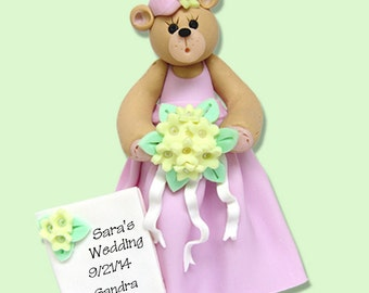 Belly Bear BRIDESMAID - HANDMADE Polymer Clay Personalized WEDDING Ornament