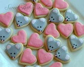 Valentine's Day Mice cookies and Heart cookies - Valentine MINI Cookies - 2 dozen