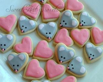 Valentine's Day Mice cookies and Heart cookies - Valentine MINI Cookies - 2 dozen