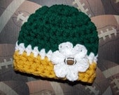 Collegiate football hat - University of South Florida - chunky baby hat - newborn size - made to order - team sports