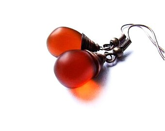 Autumn Drop Earrings, Dark Honey Brown Drop Jewelry, Autumn Jewelry, Bohemian Honey Drop Earrings