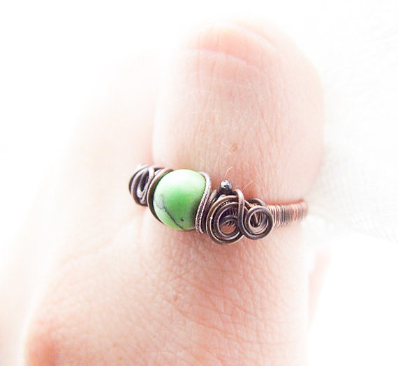 SALE Green Howlite Ring, Wire Wrapped Bohemian Green Ring, Copper Elvish Jewelry
