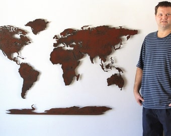 "World Map Metal wall art - 60"" wide X 36"" tall - 5 separate pieces - shown in the Rust Patina - Choose you color :)"
