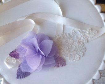 Lavender & lace ribbon halo