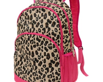 Leopard Safari Backpack from All for Color, monogrammed with your name, customized