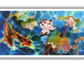 GICLEE  Print  Of Original Painting SILK Painting Acrylic  Painting  Fine Art Print  Koi Fish painting   On LUSTER Paper