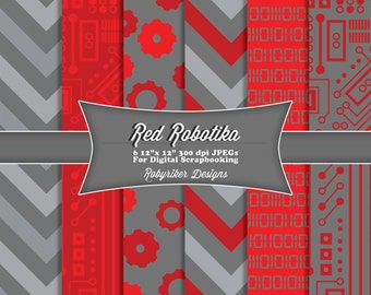 INSTANT DOWNLOAD: Red Robotika Robot Digital Scrapbook Paper 6 Pack