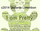 Positive Affirmations Bear Word Photo-Green- - For Kids and Teens -from - 2 years to Teens - Affirmations - Digital JPEG File Emailed to you