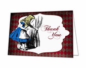 Alice in Wonderland Thank You Card, Tea Party Thank You Card, Red