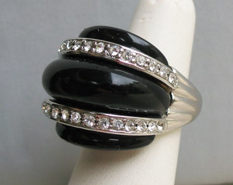 Kenneth Jay Lane KJL Designer Modernist Silver Tone Rhinestone and Black Ring
