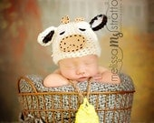 Newborn or 0-3 months  baby Cow  hat and bell  set crochet Newborn photo props photography boy girl