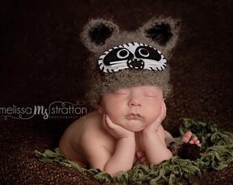 Newborn 0-3 baby Raccoon  crochet hat and tail set Newborn photo props photography