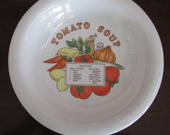 Vintage 70's Tomato Soup Ceramic Bakeware Soup Bowl - Korea - Serving - Entertaining - Dining - Soup - Ceramic Bowl