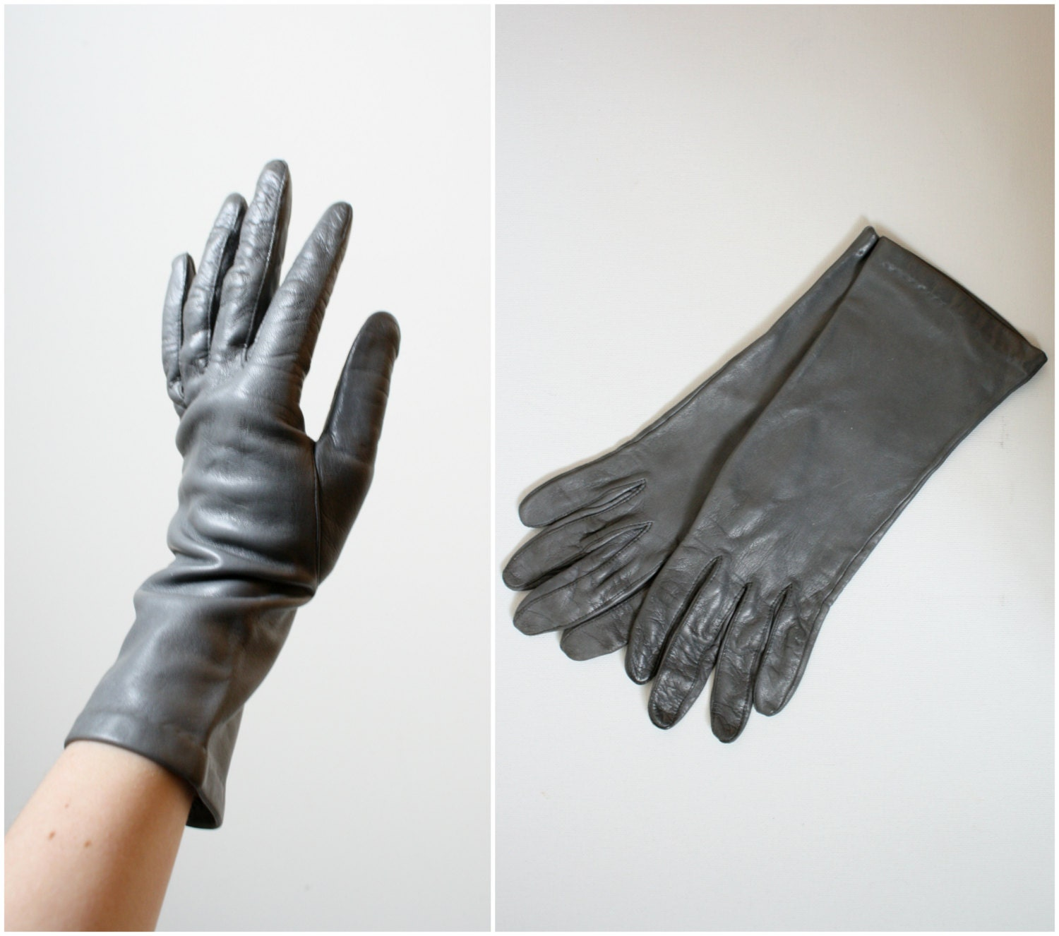 1970s Aris Dove Gray Leather Driving Gloves - long driving gloves - Womens XS 6.5