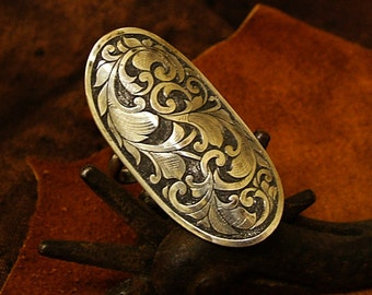 Sterling engraved saddle ring with 2 bands