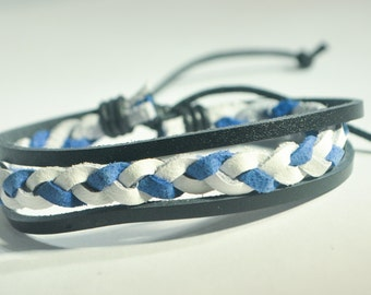 Blue and White braided leather with Black leather bracelet