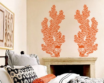 Coral Wall Stencil - Tube Coral - Large, Reusable ocean stencil for DIY Home Decor