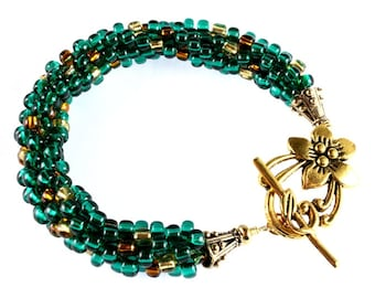 Emerald Green and Gold Kumihimo Bracelet St Patricks Day